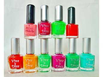 10 FLASKOR NAGELLACK VIVA LA DIVA KICKS MAKE UP TURKOS LILA GRÖN ORANGE RÖD ROSA