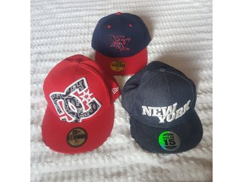 3 st Kepsar Keps Röd Denim Jeans Blå NY New York 59 Fifty Sports Snapback Unisex