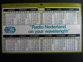 Radio Nederland on your wavelength 1990 Fickkalender Calendar 1990 samlarprylar