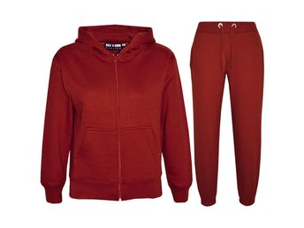 Kids Girls Boys Plain Tracksuit Hooded Hoodie Bottom Jogging Suit Joggers 2-13Yr