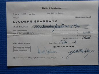 Kvitto å Ljuders sparbank 1963