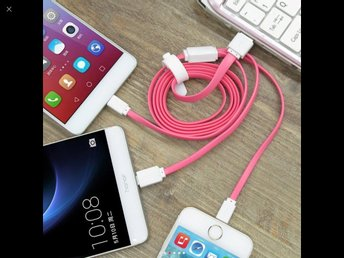 3-in-1 USB Cable: Type C, Lightning, Micro for iPhone and Android - Pink