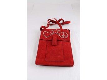 Väska, Attling x Jofama, röd, mocka