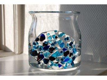 Retro Tung glasskål/glasvas med blå dekorationer - Ystad - Retro Tung glasskål/glasvas med blå dekorationer - Ystad