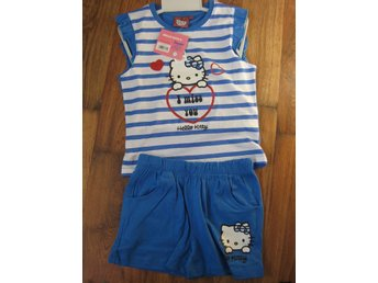 T-Shirt Tröja Barn Hello Kitty Pyjamas T-shirt + Shorts BLÅ  7-8  år THN