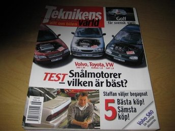 TEKNIKENS VÄRLD NR 16 1998   TEST: VOLVO S40 1,8,VW GOLF 1,8