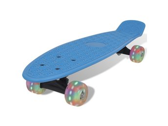 Blå retro-skateboard med LED-hjul