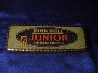 Äldre plåtask: JOHN BULL JUNIOR REPAIR OUTFIT/ reparations-ask