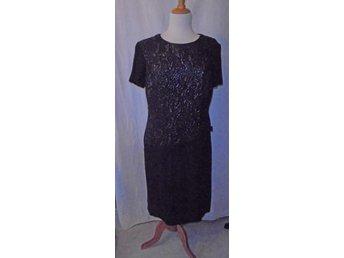 klänning, svart ylle, vintage, 60 tal, st ca 40 (286894267