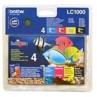 FP Brother LC1000 Value Pack, Black (500 sid.), Cyan, Magenta, Yellow (400 sid.)