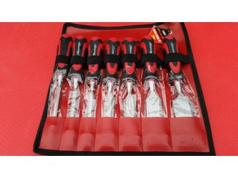 7PCS WOODEN CHISEL SET IN LEATHER TOOL POUCH FOR CARPENTER DIY TOOLS