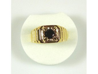 Goldfilled, 18K Guldfylld Ring med svart Onyx, 20,0mm