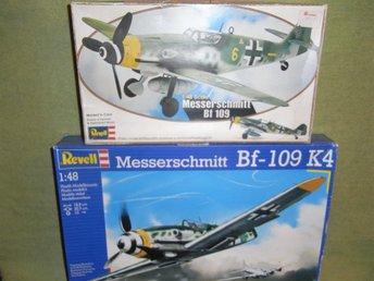 2 st lådor WW2 Messersmitt Bf 109 skala 1:48 plastbyggsatser REVELL Lågt utrop!! - Uppsala - Två äldre kartonger innehållande plastbyggsatser till det berömda Messerscmmitt Bf 109 från Andra Världskriget. Skala 1:48. OBS: Jag vet ej om alla delar finns med. I den stora lådan finns en del extra delar (se bild 2). Vissa delar är p - Uppsala