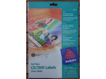 Avery CD/DVD Labels Clear Inkjet 10-pack (20 etiketter) J8570-10 (NY INPLASTAD)
