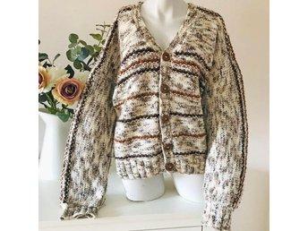 Vintage brun beige oversize kofta cardigan jacka retro 80 tal 90 tal L XL