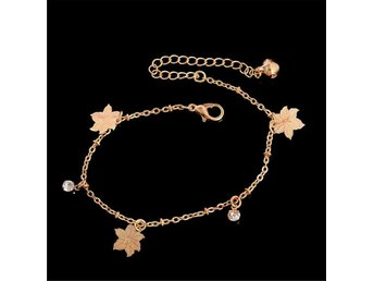 Sandal Beach Rose Gold Maple Leaf Charm Anklets vristlänkar - Hong Kong - Sandal Beach Rose Gold Maple Leaf Charm Anklets vristlänkar - Hong Kong