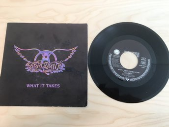 AEROSMITH / WHAT IT TAKES / MONKEY ON MY BACK / VINYL SINGEL FRÅN 1990.
