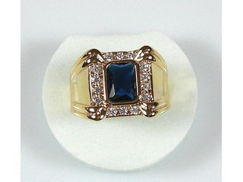 Goldfilled, 18K Guldfylld Ring med blå Safir, 20,6mm
