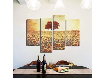 4PCS Frameless Oil Painting Sunflower Canvas Modern Wall ...