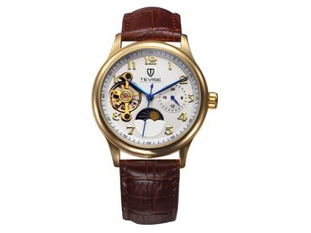 Luxury Watch Moon Phase Waterproof Automatic Mechanical Watch Genuine Leather