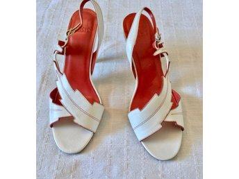 1a24a2d08d2 Nya OASIS äkta skinn sandaletter fest sommar skor vita & röda läder pumps 37