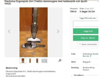 Electrolux Dammsugare Ergorapido 2-in1 (från rök & djurfri hem)ZB2901 - Stockholm - Electrolux Dammsugare Ergorapido 2-in1 (från rök & djurfri hem)ZB2901 - Stockholm
