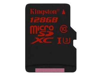 Kingston 128GB microSDXC-kort, UHS-I Class 3, utan adapter