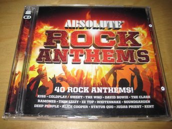 ABSOLUTE  ROCK ANTHEMS. DUBBEL-CD!   THIN LIZZY, KISS, ZZ TOP ,KENT ,M.FL.