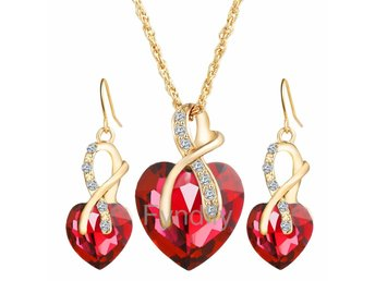 Smyckeset Crystal Heart Love Shiny Set 18K Röd