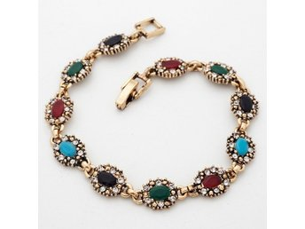 HELT NYA!! ARMBAND  Eleven Multi-Color Oval Cubic Zircon Gold Plated Bracelet