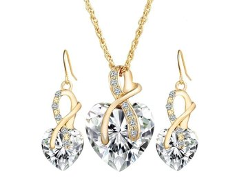 Smyckeset Crystal Heart Love Shiny Set 18K Vit