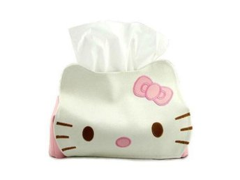 Hello Kitty Leather Tissue Napkin Paper Box Case Holder fri frakt