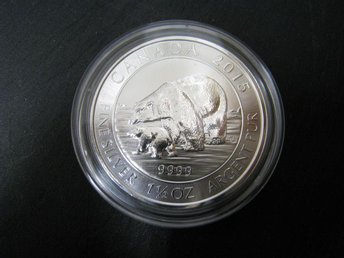 1,5 oz silvermynt Royal Canadian Mint «Polarbear and cub» 2015 - Piteå - 1,5 oz silvermynt Royal Canadian Mint «Polarbear and cub» 2015 - Piteå