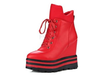 Dam Boots Zipper Female Autumn Boots Lady Shoes Red 36