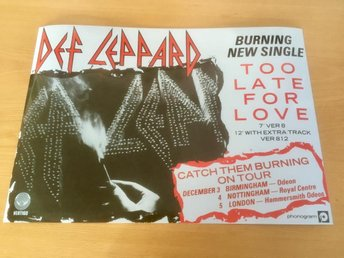 DEF LEPPARD TOO LATE FOR LOVE 1983 PHOTO POSTER