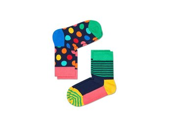 Happy Socks 2-Pack barnstrumpor Big Dots & Stripes, Multi (2-3 år)