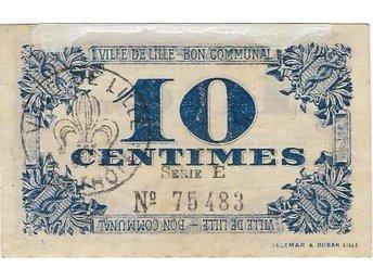 T-0202. FRANCE 10 CENT 1918 LILLE DE VILLE - Jakobstad - T-0202. FRANCE 10 CENT 1918 LILLE DE VILLE - Jakobstad