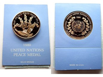 ** United Nations Peace Medal 1980 Solid bronze **
