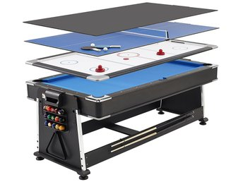 3 i 1 Biljardbord / Airhockey / Bordtennis - 7ft multi spelbord