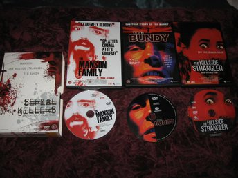 SERIAL KILLERS - OF ALL TIMES (3 ST DVD FILMER) MANSON,TED BUNDY,THE HILLSIDE S