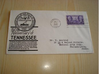 150th Anniversary of Tennessee 1946 USA förstadagsbrev
