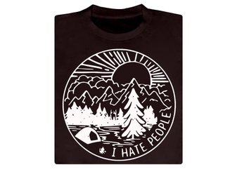 I Hate People, tent, camping T-shirt / Tshirt X-small NY!