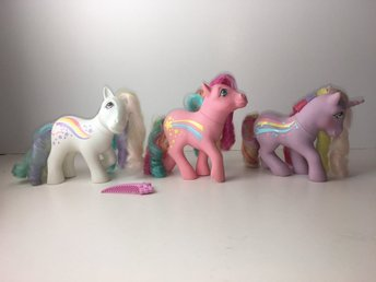 My Little Pony 3 x Rainbow Curl ponies + star comb