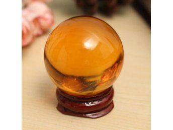 Magic Amber Crystal Healing Ball Sphere Glass With Removable Base