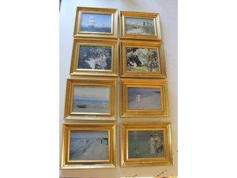 8 st miniatyrmålningar Skagenmålarna, Art Master Miniature, numrerade - Väddö - 8 st miniatyrmålningar Skagenmålarna, Art Master Miniature, numrerade - Väddö