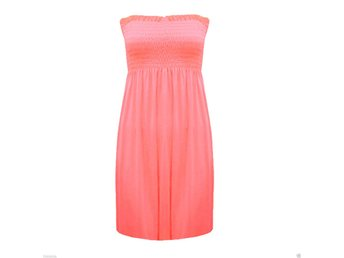 Womens Ladies Strapless Sheering Boob Tube Gather Bandeau Top Summer Mini Dress
