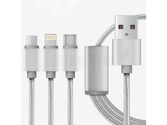 Silver 3in1 Type-C Micro USB Lightning Laddara Kabel Till iPhone Samsung