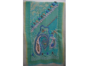 Handcrafted Silk & Cashmere blend Paisley Shawl With Embroidery
