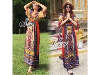 Lång klänning Thai Style Free Size - Almunge - Lång klänning Thai Style Free Size - Almunge