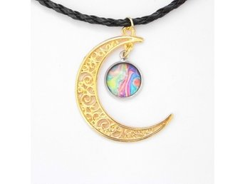 Regnbåge Måne Halsband / Rainbow Moon Necklace